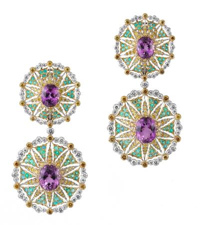 Bo-Kunzites-tourmalines-para+»ba-et-diamants-jaunes-Buccellati-