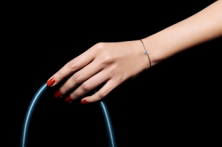 LA BRUNE & LA BLONDE, jonc 360°, diamant brillant 0,30ct, or blanc 18kt